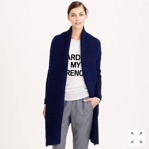 J crew navy merino wool open shawl collar cardigan